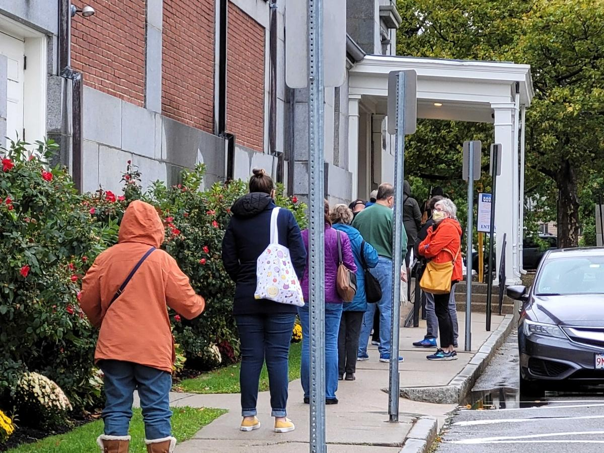 There was a line as soon as early voting started Saturday morning at Memorial Hall.