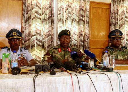 Army Commander Phillip Valerio Sibanda speaks at a news conference in Harare, Zimbabwe, December 18, 2017. REUTERS/Philimon Bulawayo