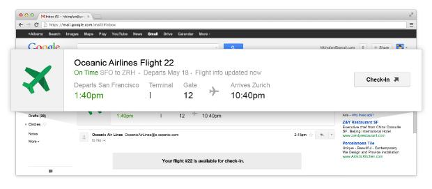 Google adding quick action buttons, real-time flight status to Gmail