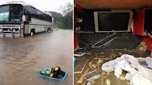 Family forced to swim to safety as floodwaters rose around their motorhome