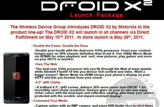 Motorola Droid X2 ready for May 26 launch?