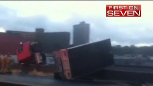 Truck hanging from Bolte Bridge