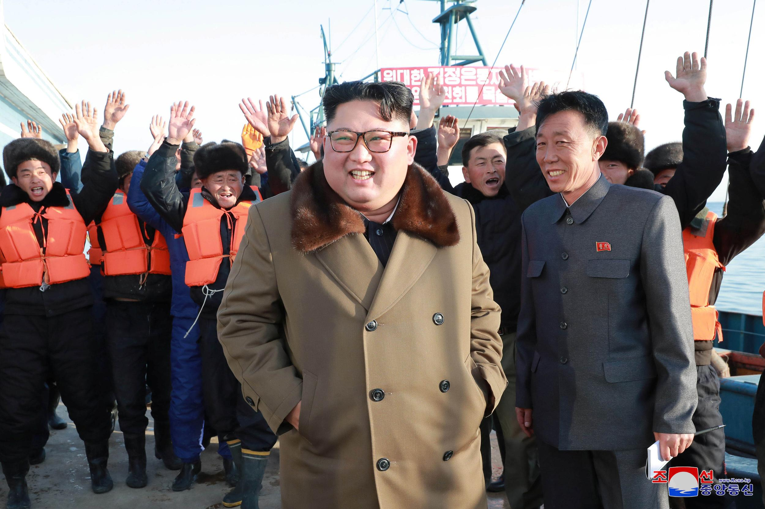 North Korean leader Kim Jong Un visits fisheries in the Donghae area, North Korea, in this picture released by the Korean Central News Agency on December 1, 2018.    KCNA via REUTERS    ATTENTION EDITORS - THIS IMAGE WAS PROVIDED BY A THIRD PARTY. REUTERS IS UNABLE TO INDEPENDENTLY VERIFY THIS IMAGE. NO THIRD PARTY SALES. SOUTH KOREA OUT. NO COMMERCIAL OR EDITORIAL SALES IN SOUTH KOREA.
