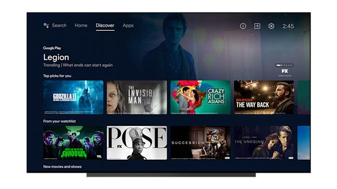 An example of the new Android TV interface with larger tiles for shows