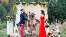 'It was a dream come true!' Russian couple are 'married' by a 21-stone BEAR