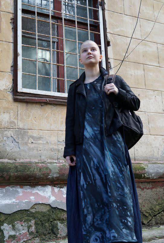 Russian artist and LGBTQ activist Yulia Tsvetkova poses for a photo in Komsomolsk-on-Amur