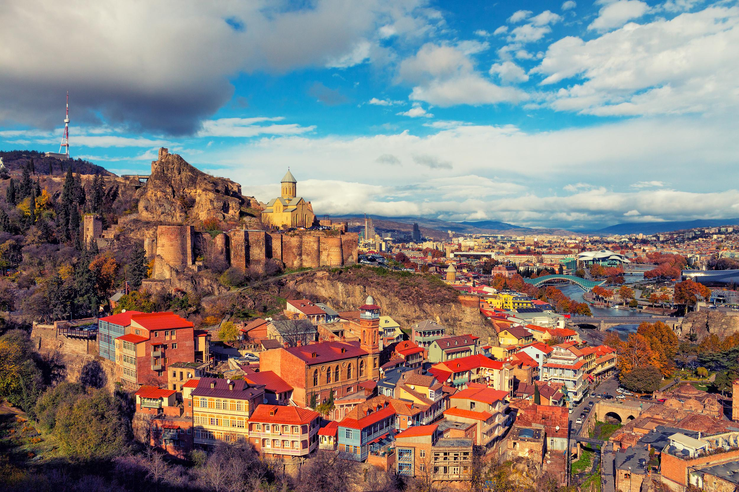 """<p>Found in the valley of the Mtkvari river, Tbilisi has not only an incredibly dramatic setting but also a rich cultural scene. The picturesque historic architecture has welcomed modern updates with huge changes made in the last decade alone.</p>  <p>TripAdvisor recommends the <a href=""""https://www.tripadvisor.co.uk/AttractionProductDetail-g294195-d11456531-Full_Day_Private_Tour_to_Old_Tbilisi_and_Mtskheta-Tbilisi.html?from_tpa=true"""" target=""""_blank"""">Full-Day </a><a href=""""https://www.tripadvisor.com/ShowUserReviews-g294195-d7062318-r399109662-Makho_Tours-Tbilisi.html"""" target=""""_blank"""">Private Tour to Old Tbilisi and Mtskheta</a>, bookable from £49 per person.</p>"""