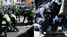 Violence erupts at Melbourne anti-lockdown protests as dozens are arrested