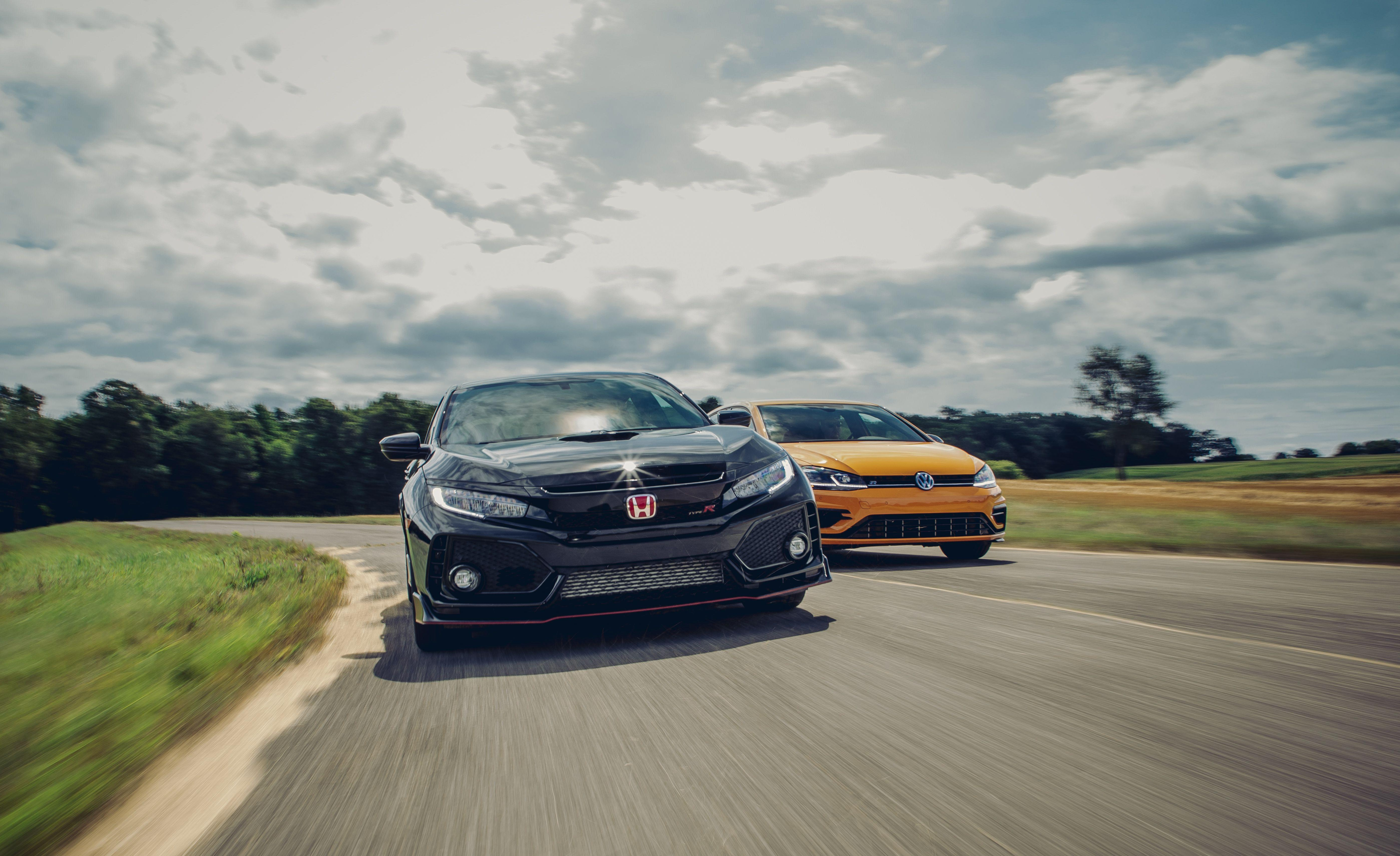 """<p>Volkswagen created the hot-hatch genre in 1976 when it spiced-up a Golf hatchback and named it the GTI. There have been many competitors since, but the 288-hp <a href=""""https://www.caranddriver.com/volkswagen/golf-r"""" rel=""""nofollow noopener"""" target=""""_blank"""" data-ylk=""""slk:2019 Volkswagen Golf R"""" class=""""link rapid-noclick-resp"""">2019 Volkswagen Golf R</a> and 306-hp <a href=""""https://www.caranddriver.com/honda/civic-type-r"""" rel=""""nofollow noopener"""" target=""""_blank"""" data-ylk=""""slk:2019 Honda Civic Type R"""" class=""""link rapid-noclick-resp"""">2019 Honda Civic Type R</a> take that time-tested formula to another level as the most potent of their kind currently on sale in the United States, with lofty prices that reflect their added capabilities. Read the full story <a href=""""https://www.caranddriver.com/reviews/comparison-test/a28689556/2019-honda-civic-type-r-vs-2019-vw-golf-r/"""" rel=""""nofollow noopener"""" target=""""_blank"""" data-ylk=""""slk:here"""" class=""""link rapid-noclick-resp"""">here</a>.</p>"""