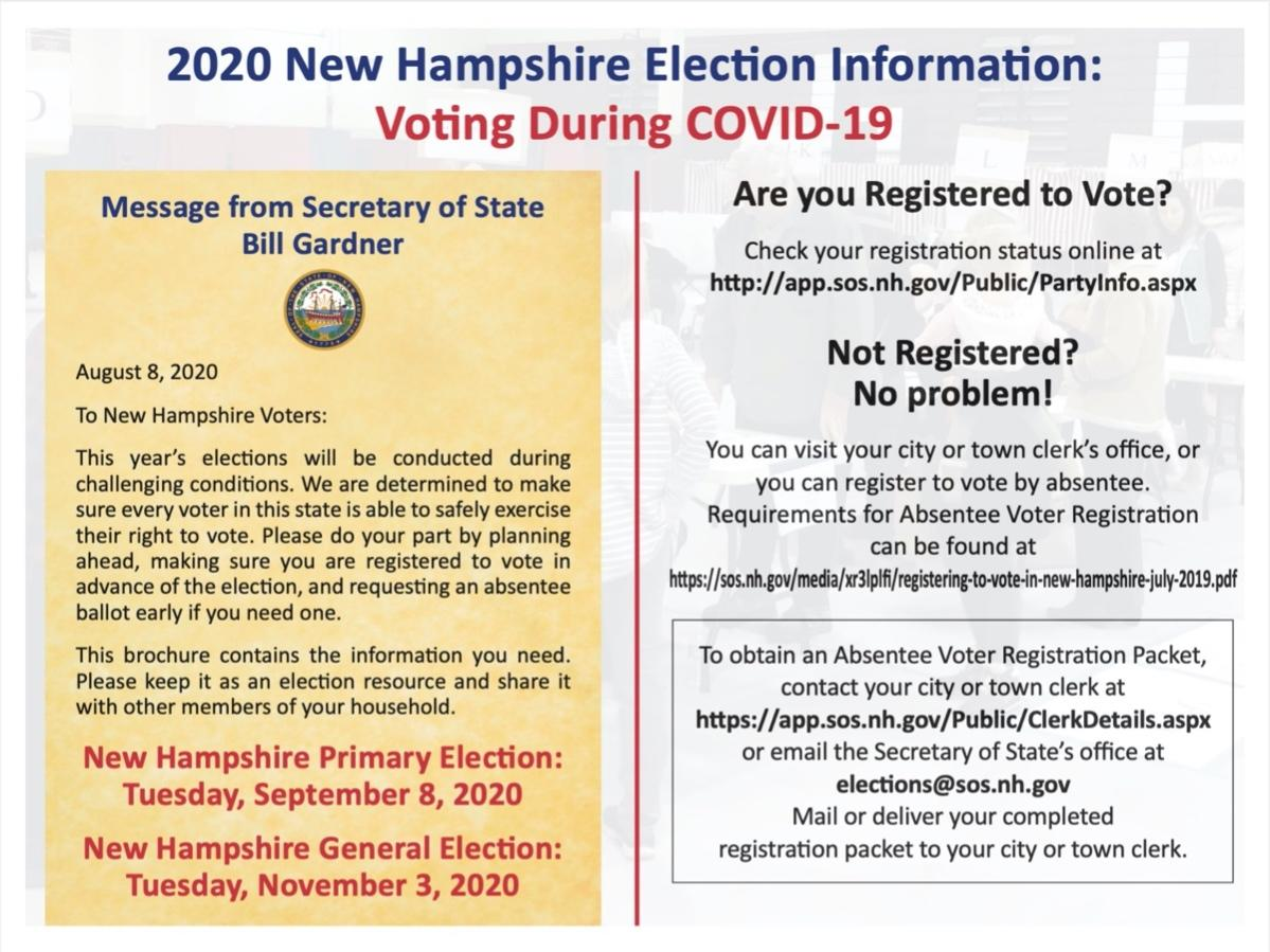 Absentee ballots in New Hampshire will be due in the hands of city and town clerks by 5 p.m. on Nov. 3, 2020, in order to be counted. Here is a scan of a mailer sent to voters in August explaining the process.