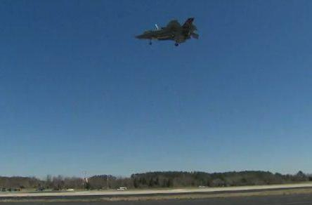 F-35B supersonic jet's first mid-air hover (video)