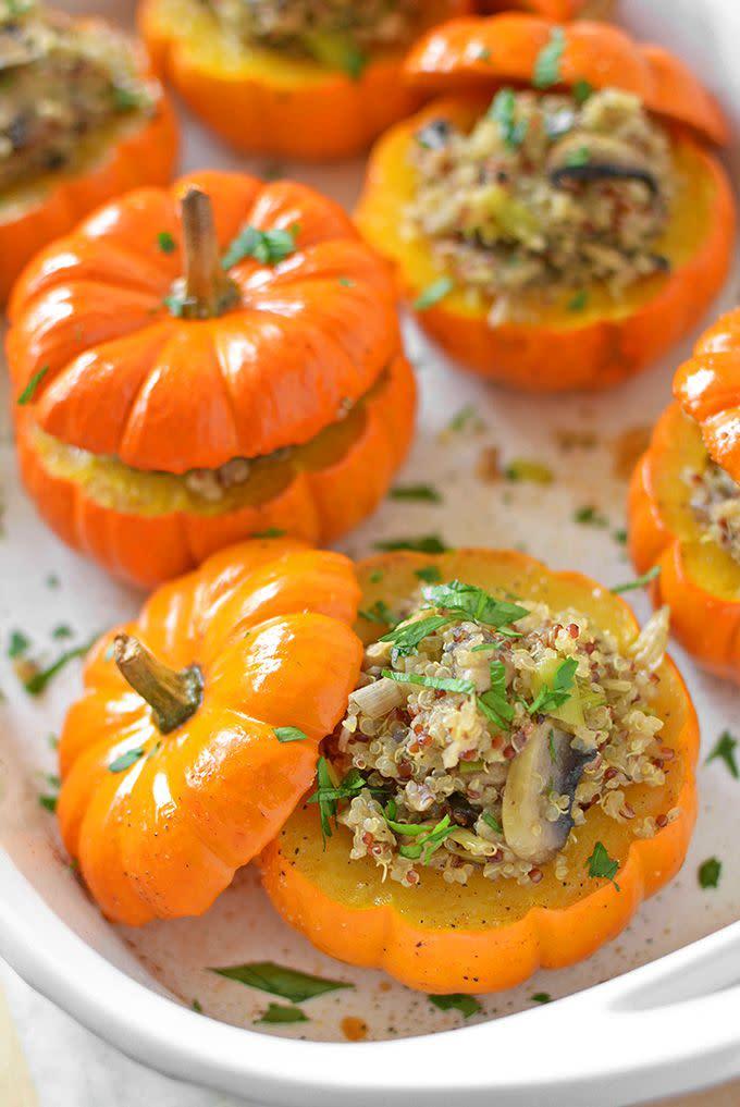"<p>These make the cutest holiday side dish.</p><p>Get the recipe from <a href=""http://simpleseasonal.com/recipes/savory-mushroom-and-quinoa-stuffed-mini-pumpkins"" rel=""nofollow noopener"" target=""_blank"" data-ylk=""slk:Simple Seasonal"" class=""link rapid-noclick-resp"">Simple Seasonal</a>.</p>"