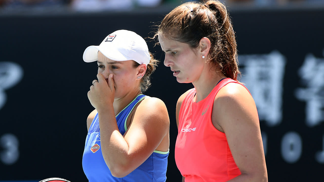 Ash Barty crashes out of doubles draw after blowing huge lead