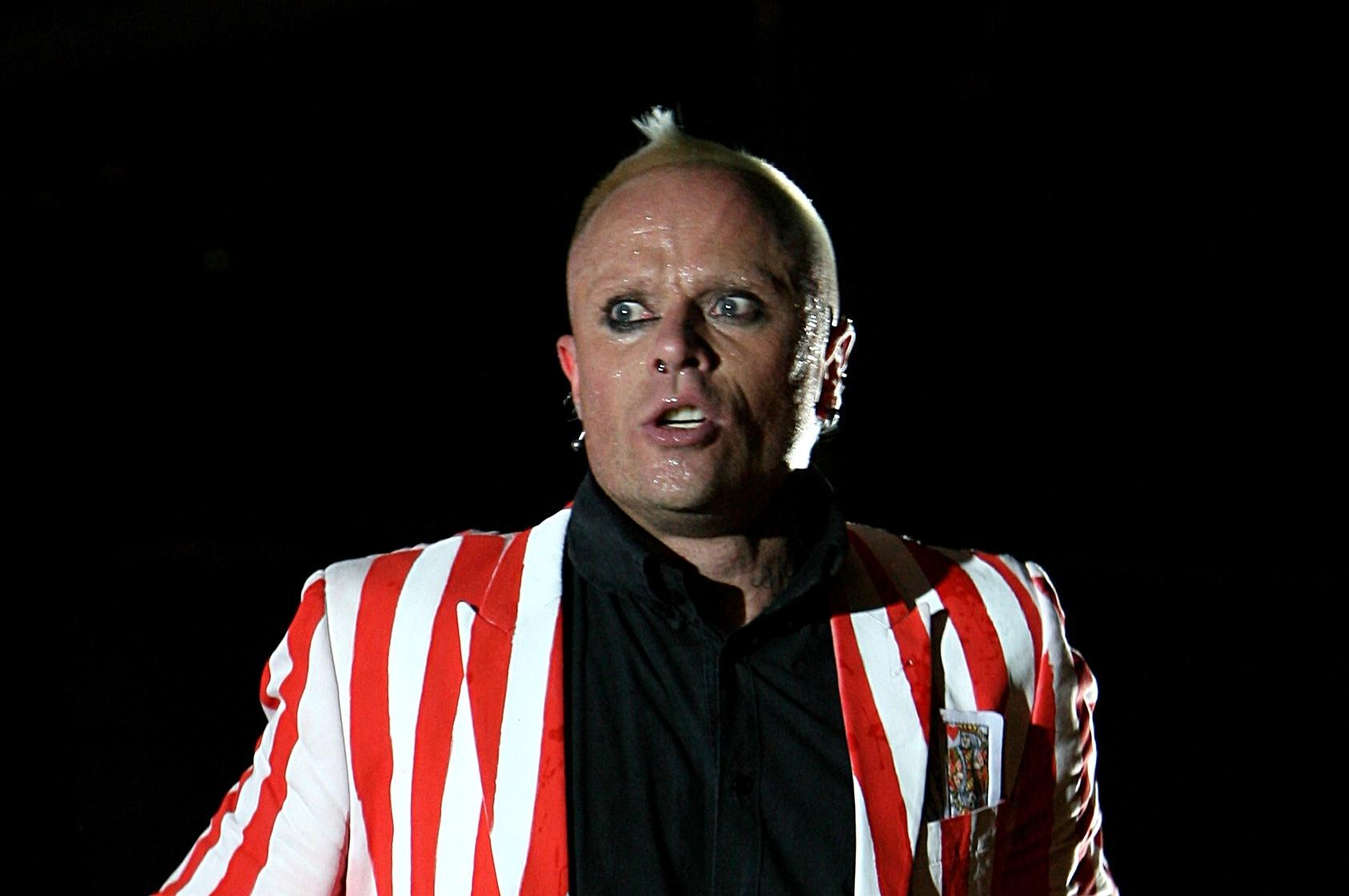 Prodigy lead singer Keith Flint performs during the Oxegen Festival 2008 at the Punchestown Racecourse, Naas, County Kildare, Ireland.   (Photo by Niall Carson - PA Images/PA Images via Getty Images)