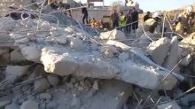 Video purports to show destruction following airstrikes in Syria