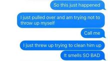 Guy panic-texts his wife after their son pukes everywhere, internet cannot get enough