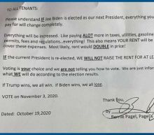 Landlord threatens to raise tenants' rent if Biden elected