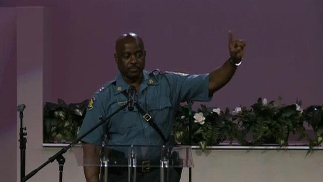 State Police Captain Ron Johnson speaks at Michael Brown rally
