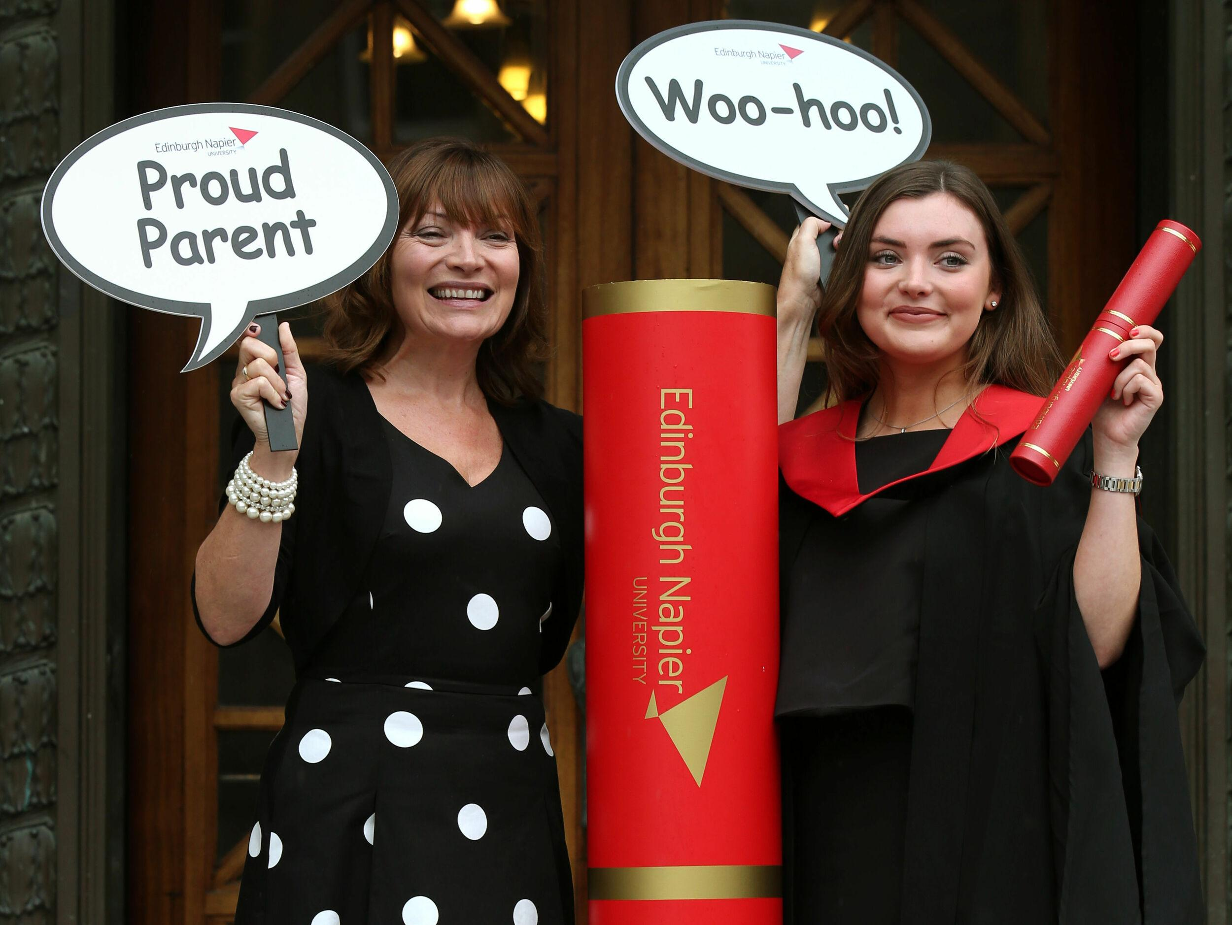 TV presenter Lorraine Kelly with her daughter Rosie Smith, after she graduated from Edinburgh Napier university with a journalism degree.