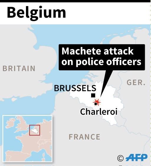Map of Belgium locating machete attack in Charleroi (AFP Photo/AFP)