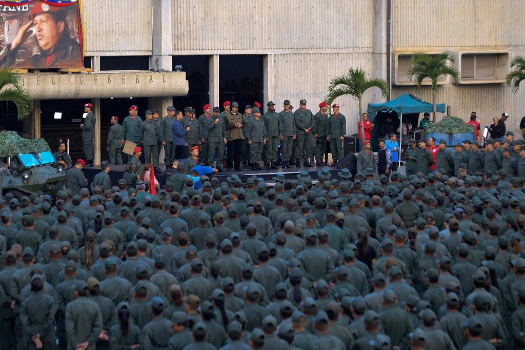 Venezuelan President Nicolas Maduro, addressing troops in Caracas on May 2, 2019 (AFP Photo/HO)
