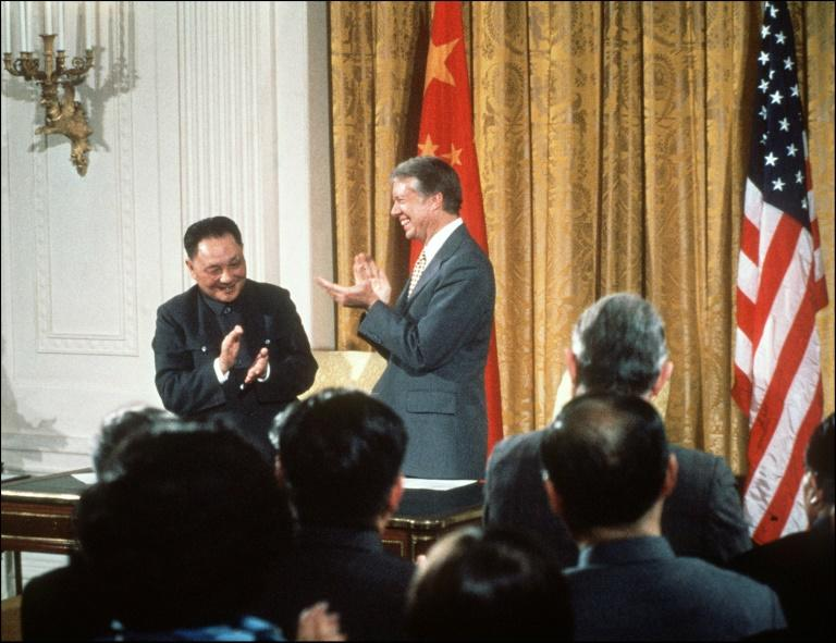 President Jimmy Carter welcomes Chinese leader Deng Xiaoping to the White House in January 1979 for the establishment of diplomatic relations (AFP Photo/)