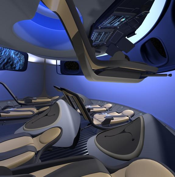 Boeing's new commercial interior of its Crew Space Transportation (CST-100) next-generation manned space capsule, showing how people other than NASA astronauts may one day travel to space.