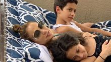 Jennifer Lopez Cuddles Up with Her 11-Year-Old Twins Max and Emme Ahead of Chicago Concert