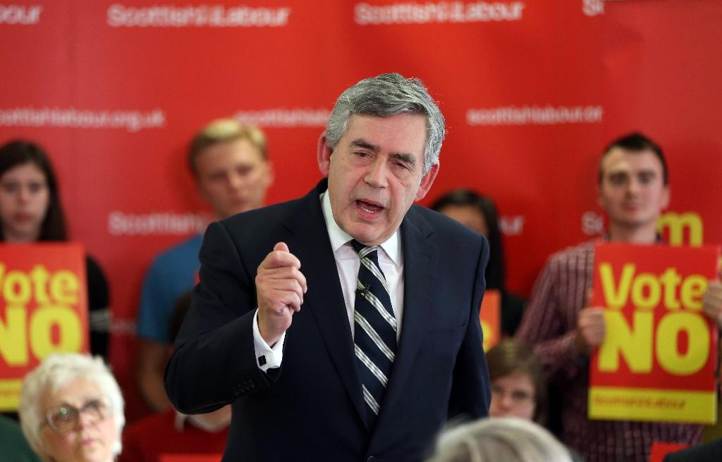 Former British Labour prime minister Gordon Brown addresses pro-union supporters in Glasgow on September 9, 2014