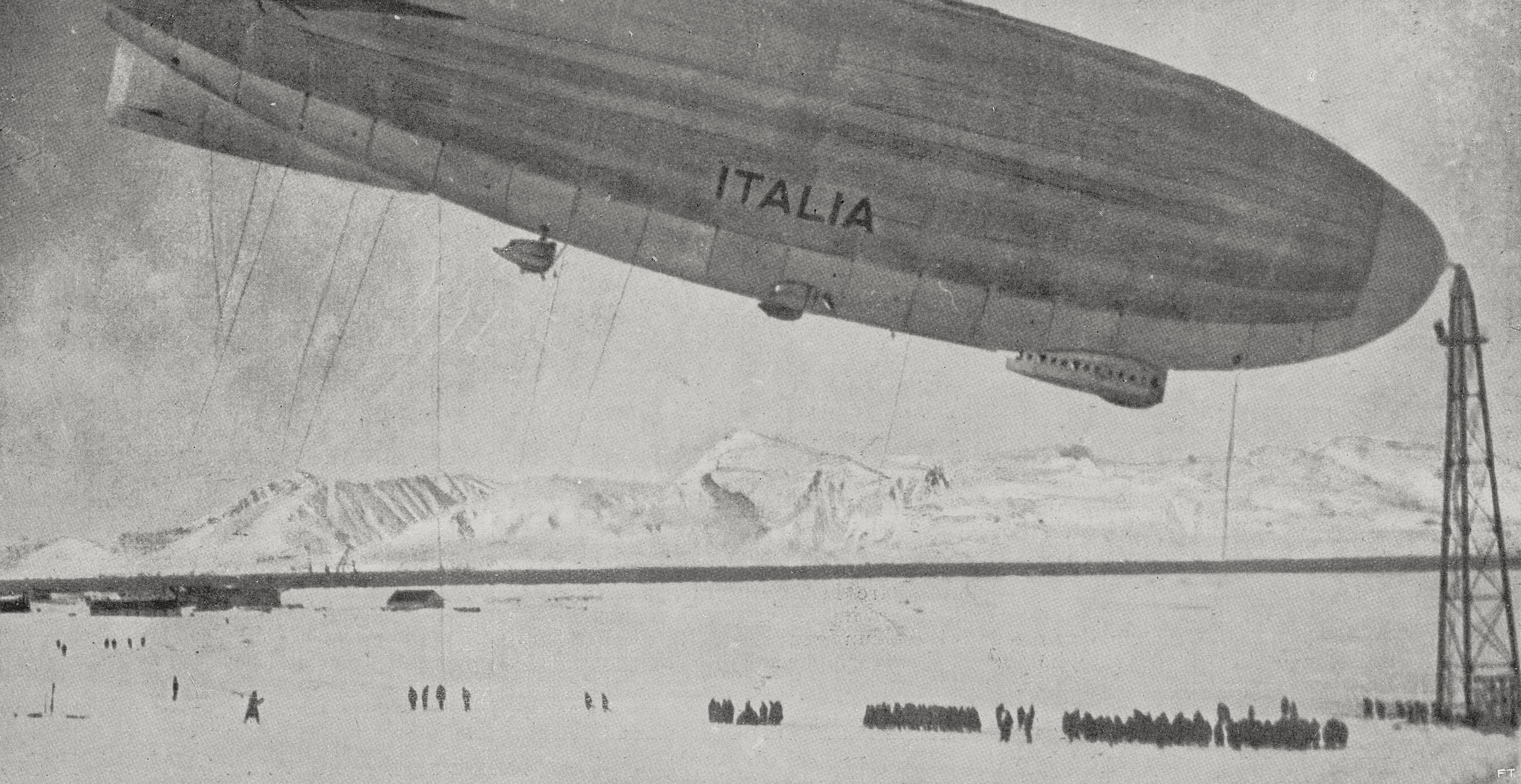 Airship Italia moored in King's bay, Spitsbergen island, Norway, from L'Illustrazione Italiana, Year LV, No 23, June 3, 1928.
