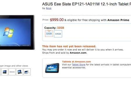 ASUS EEE Slate EP121 shows up for pre-order on Amazon