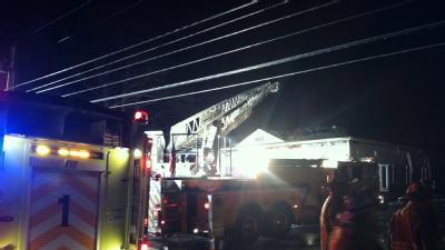 Firefighters Battle Flames At Freeport Plumbing Business