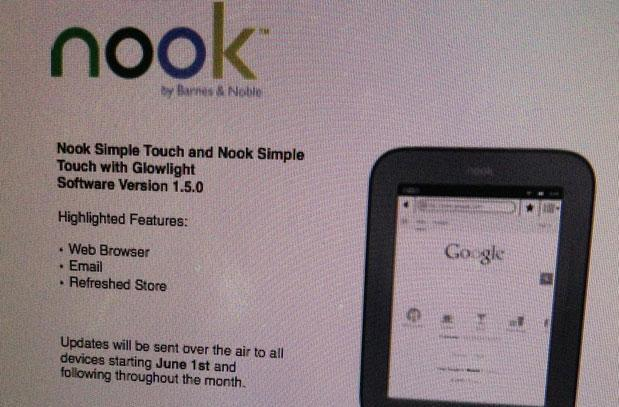 Nook Simple Touch reportedly getting web browser, email client on June 1st