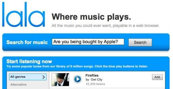 Apple looking to buy Lala, get into streaming music? (Update: sale confirmed)