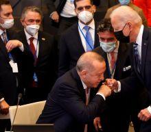 Biden shares awkward fist-bump with Turkey's Erdogan at NATO summit