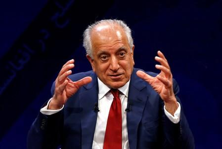 FILE PHOTO: U.S. envoy for peace in Afghanistan Zalmay Khalilzad speaks during a debate at Tolo TV channel in Kabul