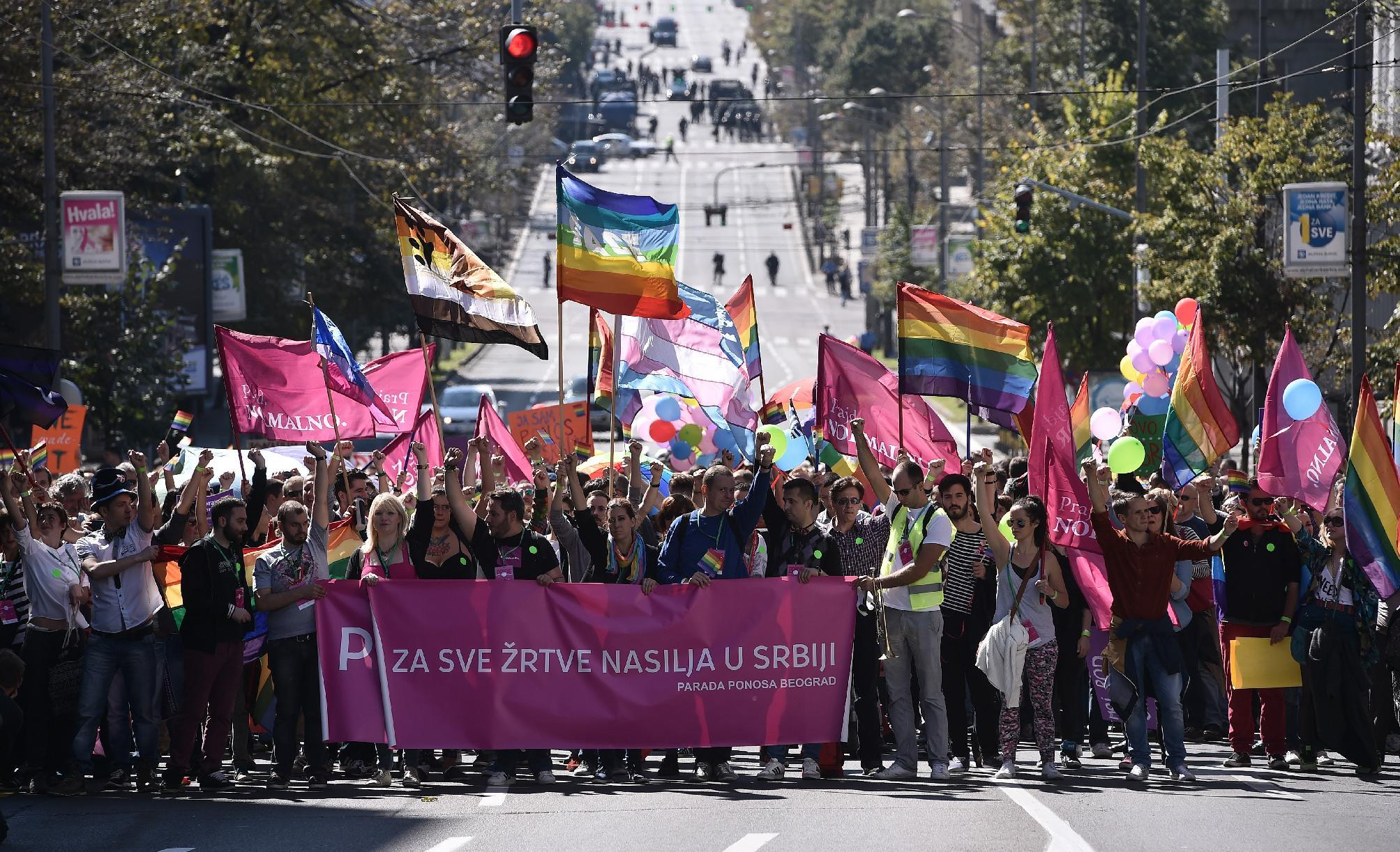 Gay activists march during the Pride Parade in Belgrade on September 28, 2014 (AFP Photo/Andrej Isakovic)