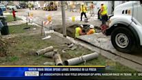 Water main break opens large sinkhole in La Presa