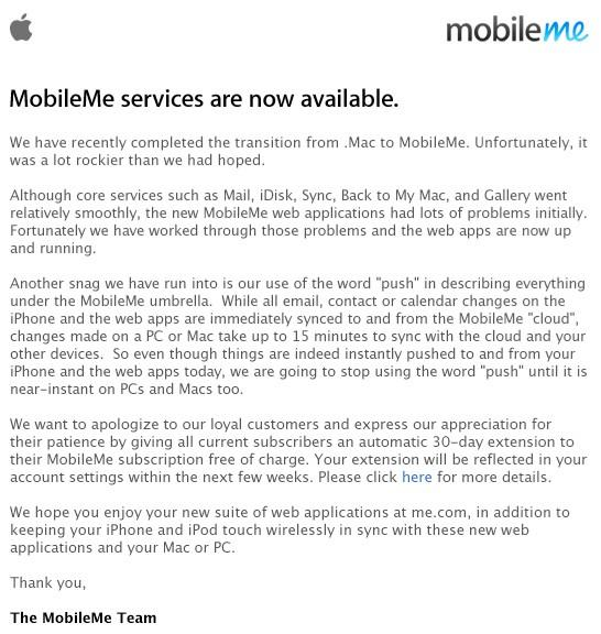 """Apple apologizes for its MobileMe mess, admits bungle on """"push,"""" offers 30-days free"""