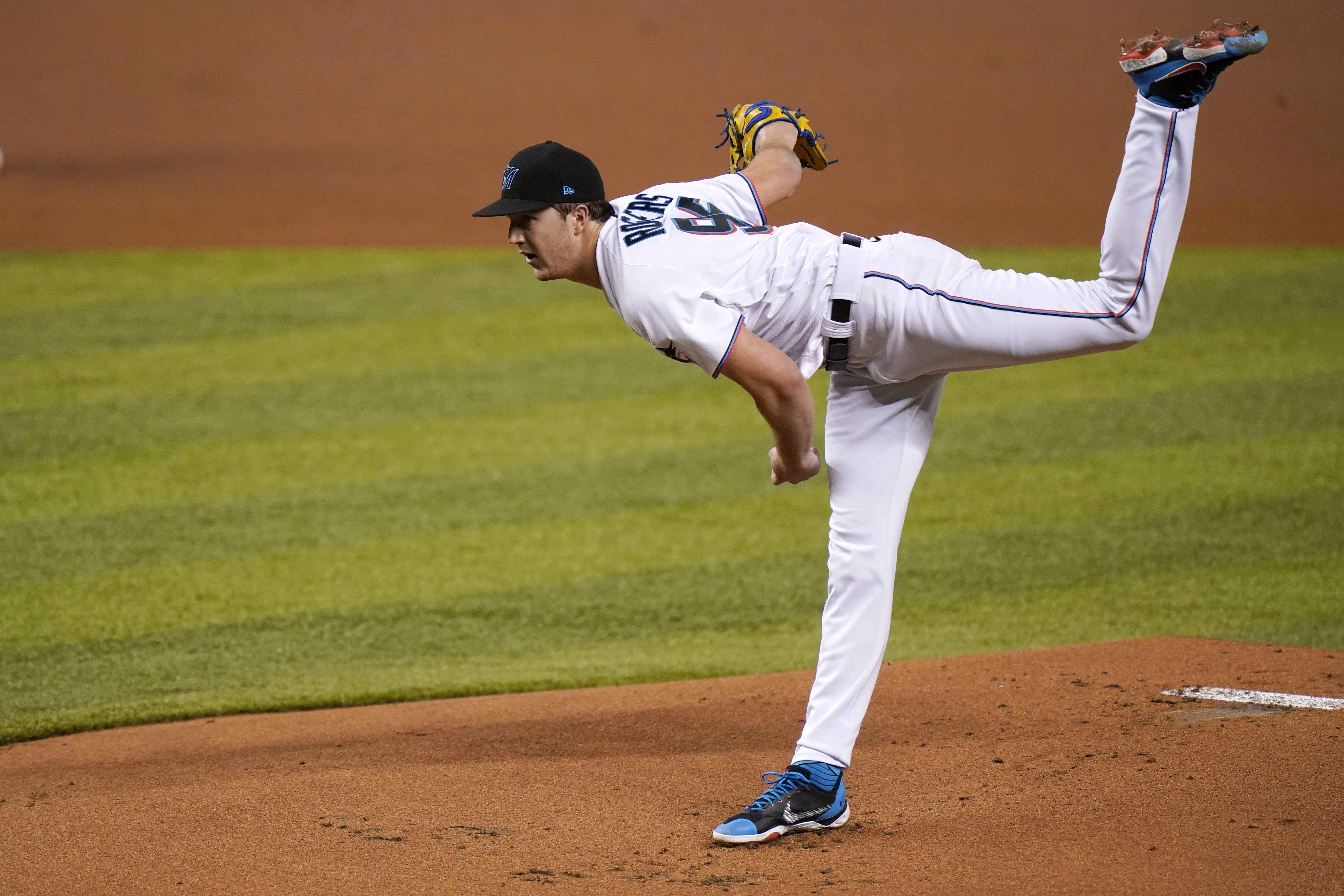 Miami Marlins starting pitcher Trevor Rogers follows through on a delivery during the first inning of a baseball game against the Boston Red Sox, Wednesday, Sept. 16, 2020, in Miami. (AP Photo/Lynne Sladky)