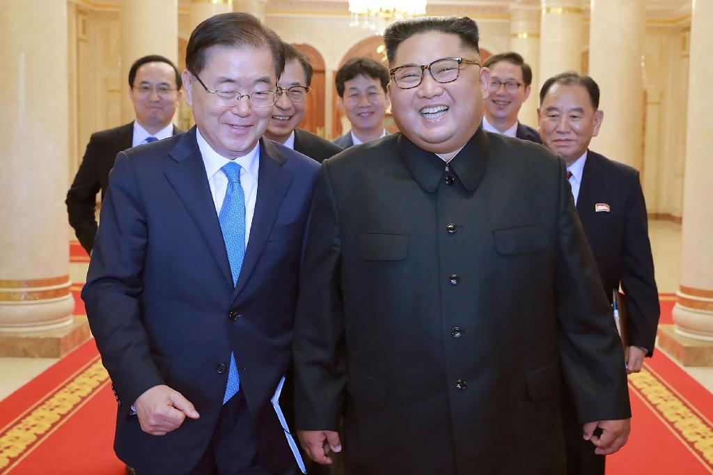 The remarks come as Moon (L) tries to reignite stalled talks between Kim Jong Un (R) and Donald Trump