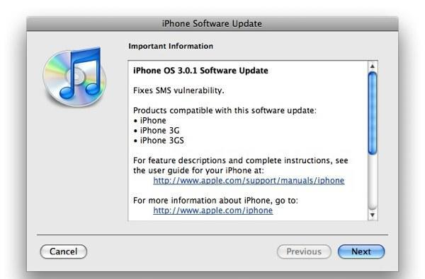iPhone OS 3.0.1 update released, fixes SMS vulnerability (updated with statement from Apple)