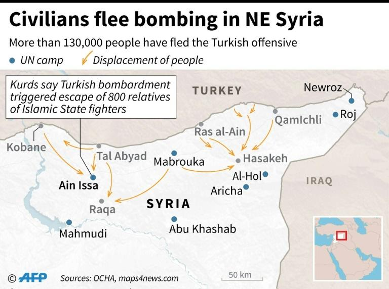 Map of northeastern Syria showing movements of people fleeing Turkish offensive and UN camps for displaced people. Situation as of Oct 12 (AFP Photo/)