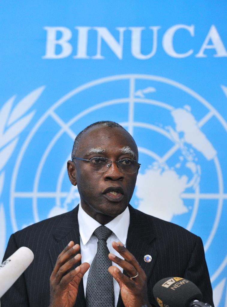 General Babacar Gaye, the United Nations secretary general's representative to the Central African Republic, speaks at the United Nations Integrated Peace-Building Office in the Central African Republic headquarters in Bangui, February 6, 2014 (AFP Photo/Issouf Sanogo)