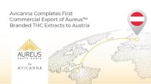 Avicanna Completes First Commercial Export of Aureus™ Branded THC Extracts to Austria and Welcomes Colombian Government's Progressive New Regulation on Cannabis
