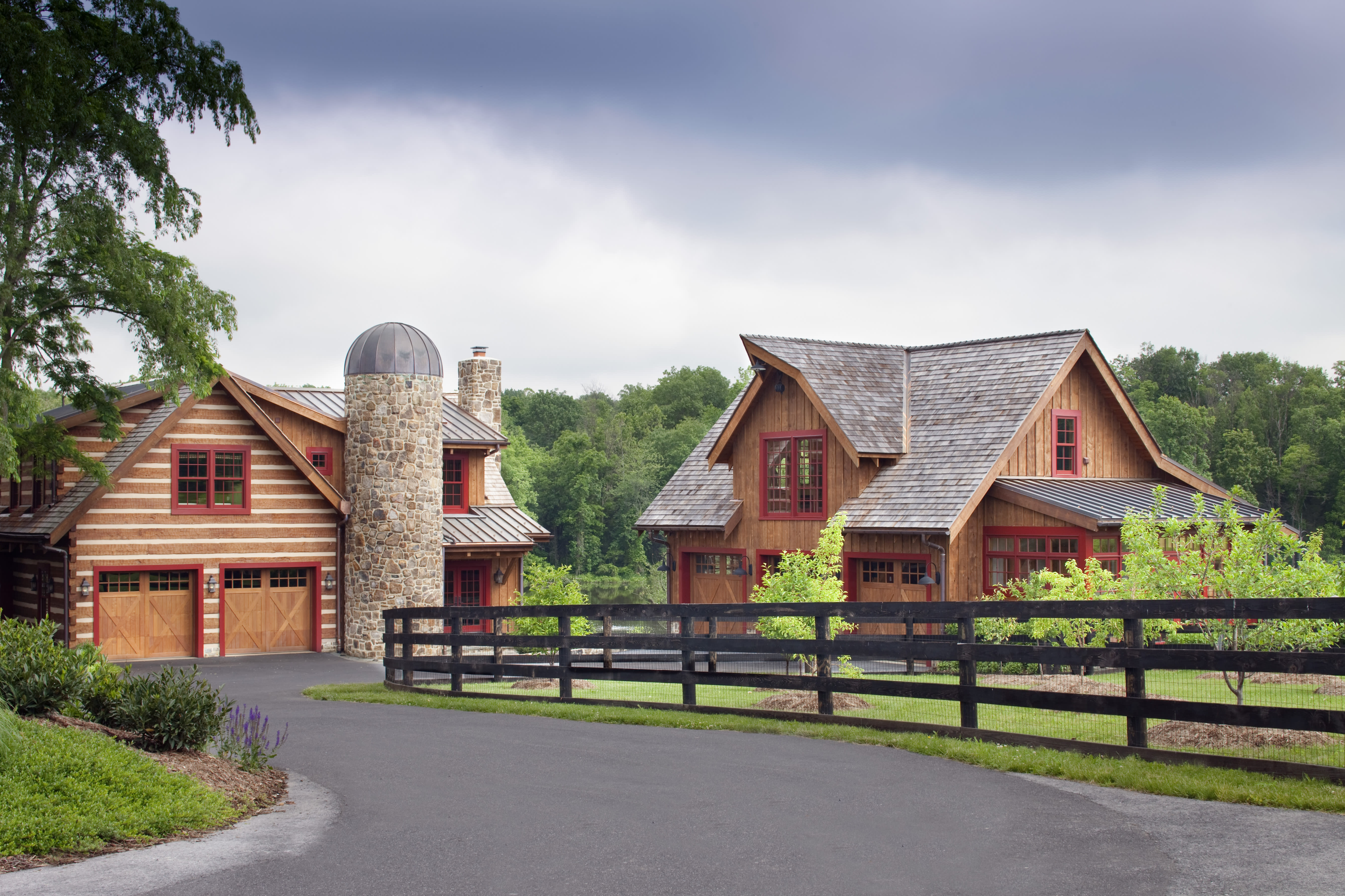 This photo provided by Rill Architects shows detached garages in Emmitsburg, Md. Detached garages with a second floor, as seen in this project designed by the Bethesda, Md. based firm Rill Architects, can serve as a space to store cars while also pulling double-duty as guest suites, rooms for crafting or even a playroom for children. (James Ray Spahn/Rill Architects via AP)