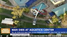 A man broke into an aquatic center in Arizona, got trapped in a water slide support pipe, and died before rescuers could get to him