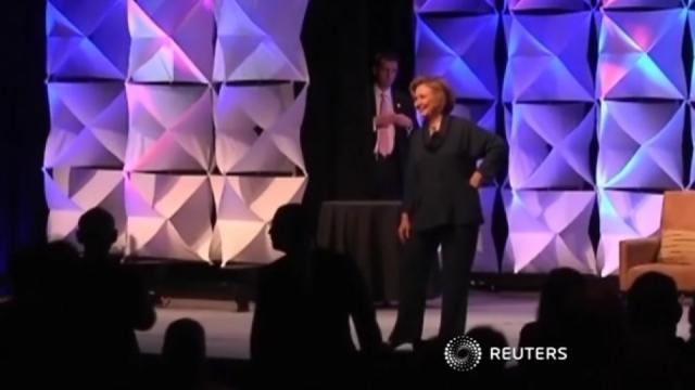 Hillary Clinton dodges shoe during speech