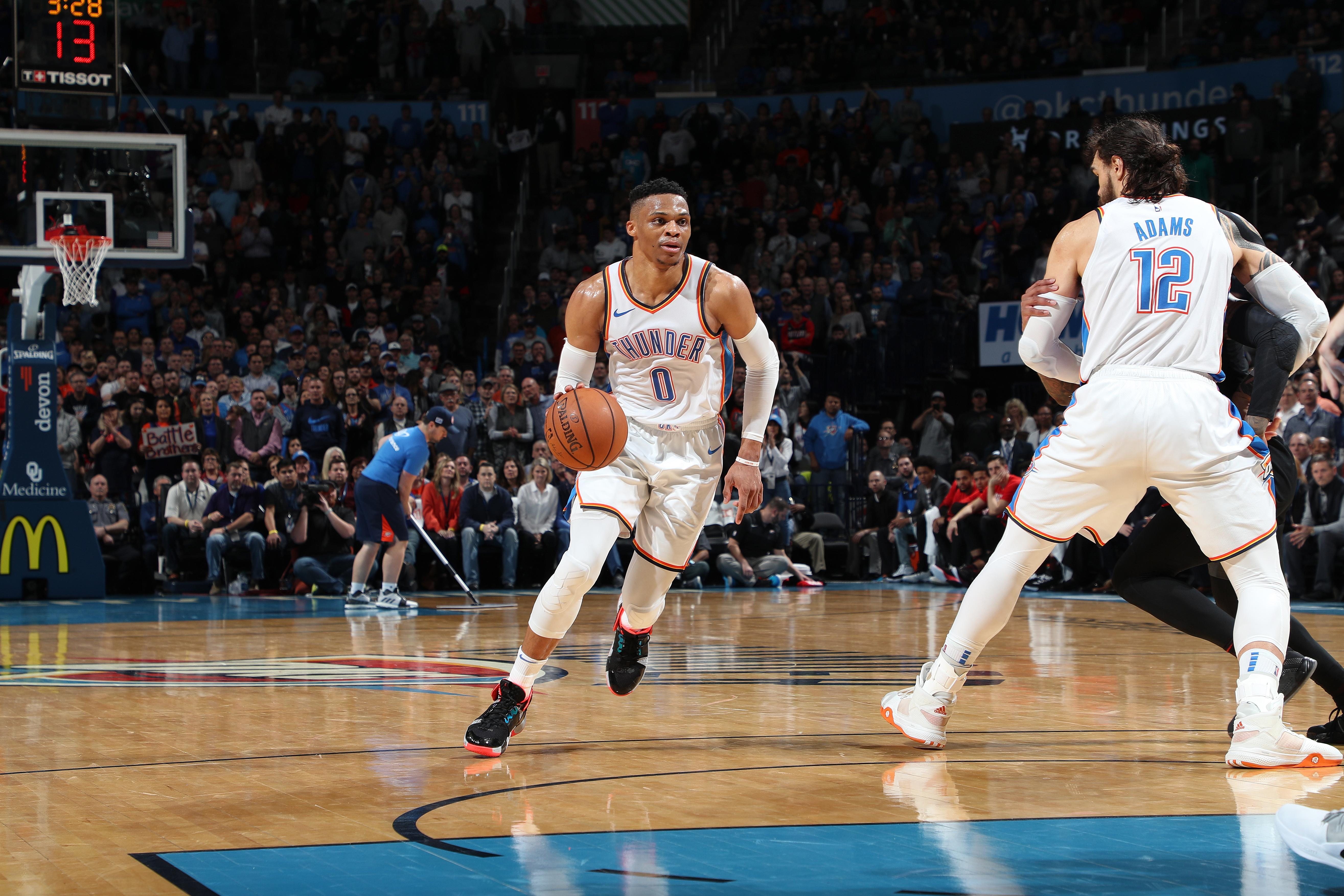 cb613b54a4c Russell Westbrook sets NBA record with 10 straight triple-doubles