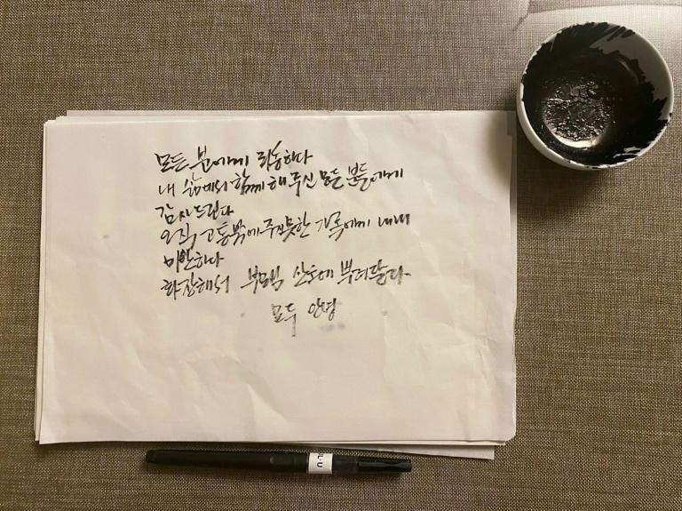 Park offered a general apology in a suicide note -- handwritten with ink and brush -- in which he said 'I'm sorry to my family, to whom I only caused pain' (AFP Photo/Handout)